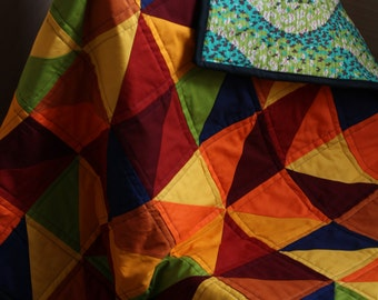 Handmade modern baby quilt - geometric bright triangle, lap quilt, sofa blanket, patchwork throw