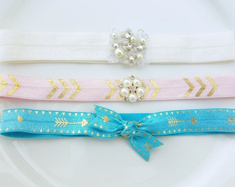 Set of 3 - Fold over elastic Headband, off-white elastic band, pink - pearl elastic band, blue tie knot elastic band - every day headband -