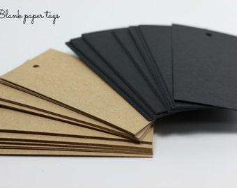 Set of 20 blank hang tags, kraft hang tags, black hang tags, wedding tags, gift and packaging tags - 10 x 5cm