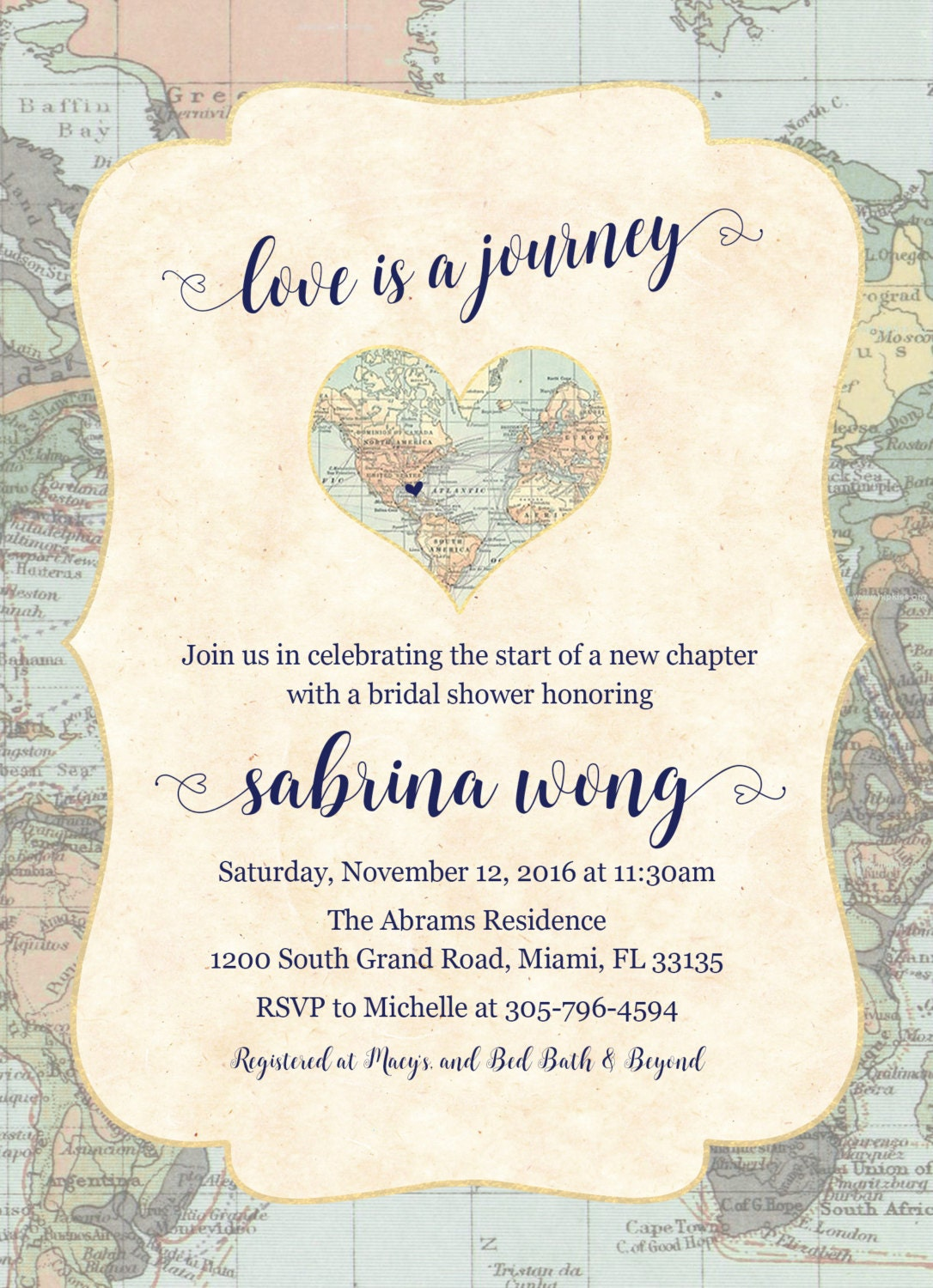 Map Travel Bridal Shower Invitation Love Is A Journey Adventure Awaits Invite Destination Wedding Printable