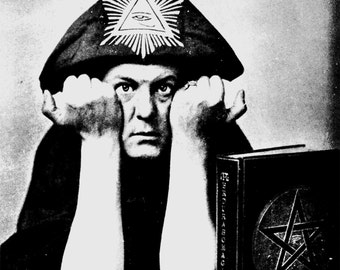 Aleister Crowley photo occult art print wiccan vintage photography thelemic thelema pentagram 1950s-PRINT   *