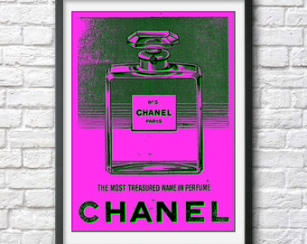 Chanel No. 5 perfume bottle print, poster Andy Warhol pop art print poster cool poster