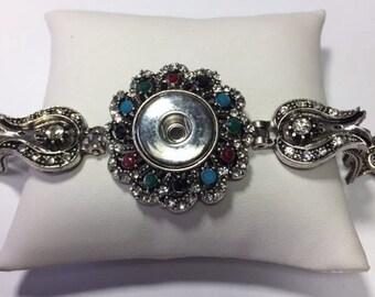 New! MULTI SILVER STRAND Snap Bracelet..Multi color stones.Gorgeous!!!!!!!
