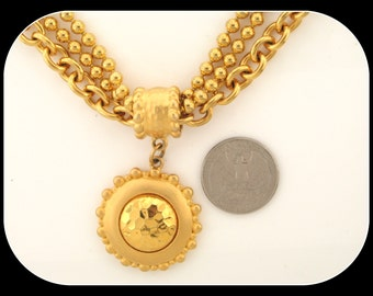 Vintage STATEMENT Heavy Gold Plated PENDANT NECKLACE 97.17GR