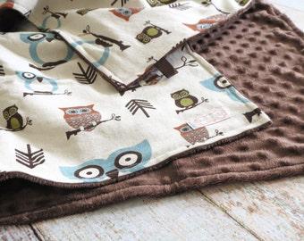 Baby Blanket - Baby Boy Blanket - Owl Baby Blanket - Woodland Baby Blanket - Brown Minky Blanket - Woodland Minky Blanket - Baby Shower Gift