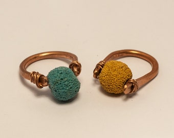 Copper/brass rings and colored lava!