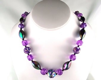Vintage Purple Beaded Necklace
