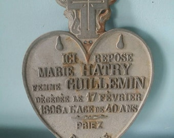 French antique grave Tomb commemorative memorial plaque 1896 heart shaped rarity! cast iron