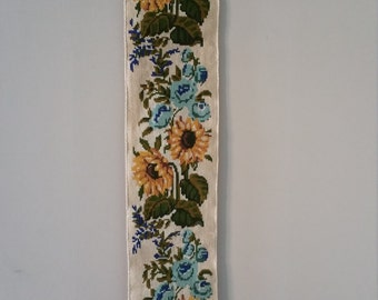 Vintage embroidered bell pull with sun flowers and roses! Romantic rural country style