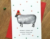 Funny Sheep Christmas Card - Animal Lover Farm Farmer Livestock Bobble Hat Festive Holiday Greetings Card