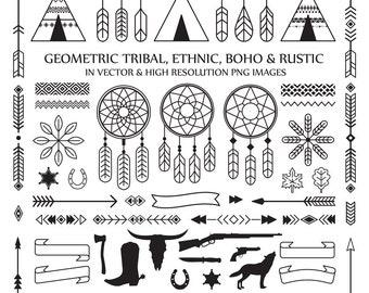 Line Art Tribal Boho Clipart, Feather Arrow Dreamcatcher Rustic Clipart Clip Art PNG Vector EPS, AI Design Elements Digital Instant Download