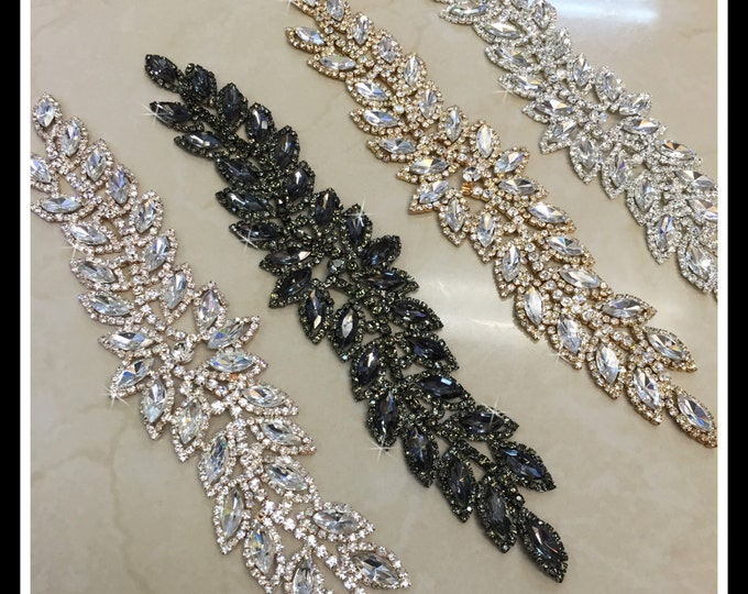 Rhinestone Leaf Bridal aplique/ Sash Applique/ Swarovski Shine (Silver, Gold, Rose Gold, Black) #0171