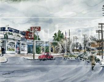 Sugarhouse, fine art print, Salt Lake City, Utah, Vintage, Historical Sugarhouse, Historical Salt Lake City Street watercolor, Utah Winter