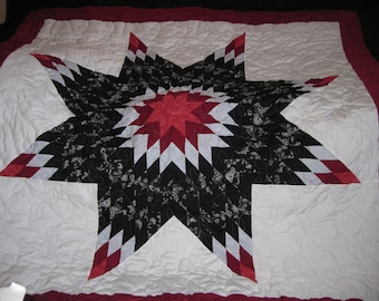 maroon-black-white star quilt