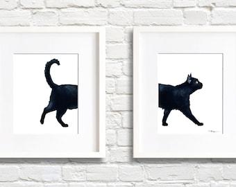 Black Cat Walking - Set of 2 Art Prints - Wall Decor - Watercolor Painting