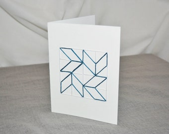 Rhapsodic Threads Brand: CHEVRON blank quilted greeting card in deep teal
