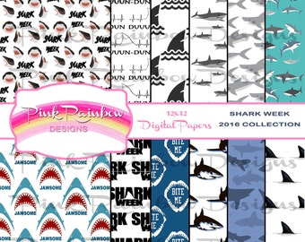 Shark Week 2017 ~ Digital Scrapbook Paper ~ Great White ~ Shark Fin ~ Shark Swimming ~ Shark Bite ~ Jaws ~ Printable Paper