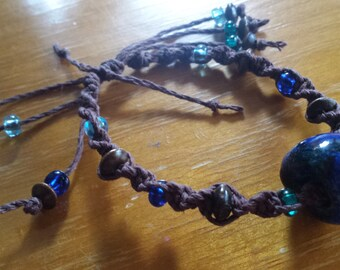 Blue Ceramic Bead Macrame Bracelet