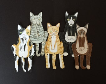 Cat Moveable Paper doll/s( golden brown)
