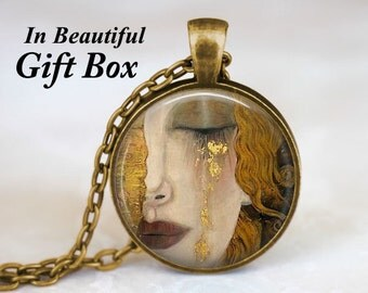 Gustav Klimt - Crying Woman Necklace Pendant Charm Gustav Klimt Crying Woman Jewelry Gustav Klimt Painting Famous Paintings Symbolist