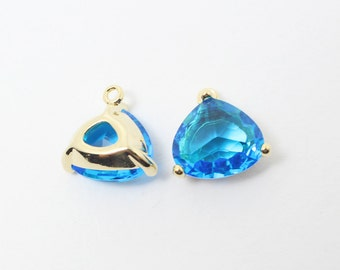 G002003/Capri Blue/Gold plated over brass/Triangle bezel glass Pendant/13x13mm/2pcs