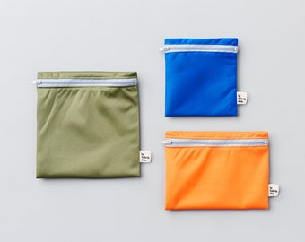 Trio mountain ~ reusable sandwich and snack bags ~ Reusable snack and sandwich zipper bags