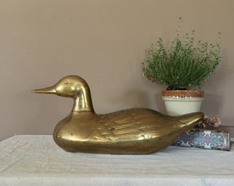 """18"""" Large Brass Duck / Vintage Brass Figurines / Brass Duck / Duck Statue / Brass Statues / Pair of Brass Ducks / Brass Figurines / Brass"""