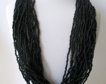 ON SALE Vintage Jet Black Chunky Japanese Seed Beads Necklace 62816