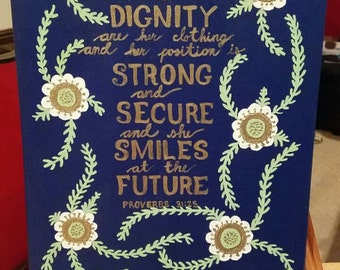 Flower Quote Canvas - Proverbs 31:25
