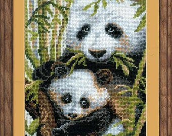 Panda With Young Cross Stitch Kit by RIOLIS