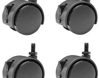 M8 Metric Threaded Wheels/Casters with Locks - Set of 4