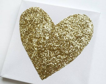 Nursery Art - Nursery Wall Art - Gold Canvas Art - Heart Canvas Art - Gold Wall Art - Gallery Wall - Glitter Art - 8 x 8