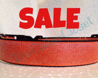 Orange With Green Glitter Halloween Christmas Party Sparkle Dog Collar