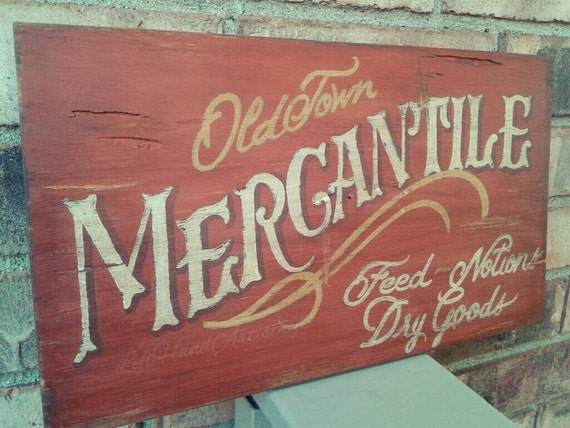 Vintage Reclaimed Wood Mercantile sign Free-handed