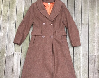 Vintage 1970's Women's Wool Trench Coat Brown Wool Blend Boho Hipster 70's Made In England Winter Jacket Size 14 Bust 91cm Brown Pea Coat