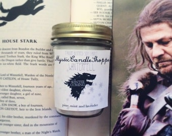 Winterfell soy candle, Game of Thrones inspired