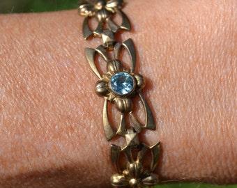 Vintage Symmetalic Blue Zircon Flower Link Bracelet