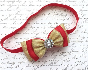 Gold red baby headband-Red gold Christmas baby headband-holiday gold red headband-Christmas baby headband-gold red hair bow-gold and red