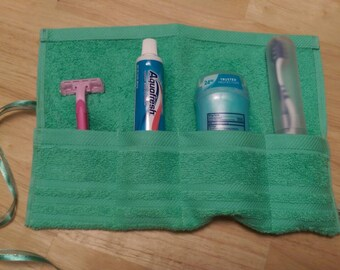 Travel Toiletry Roll Mint Green  Travel Toothbrush Roll,  Gym Bag Roll,  Toothbrush Holder,  Camping,  Overnight,  Make Up Brush Roll