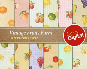 Vintage Fruits Vol. 1 Digital Papers 12pcs 300dpi Digital Download Scrapbooking Printable Paper