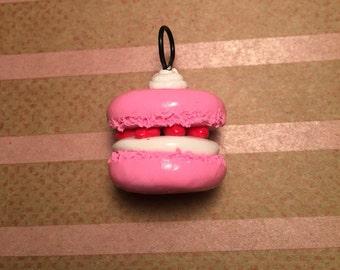 Clay macaroon, pink macaroon clay charm, macaroon clay charm, miniature macaroon charm, tiny pink macaroon, polymer clay food.