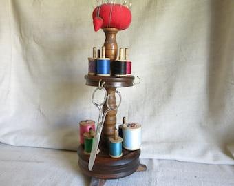 Vintage Wood Sewing Pedestal Pin Cushion Thread Spool Holder Vintage Sewing Display