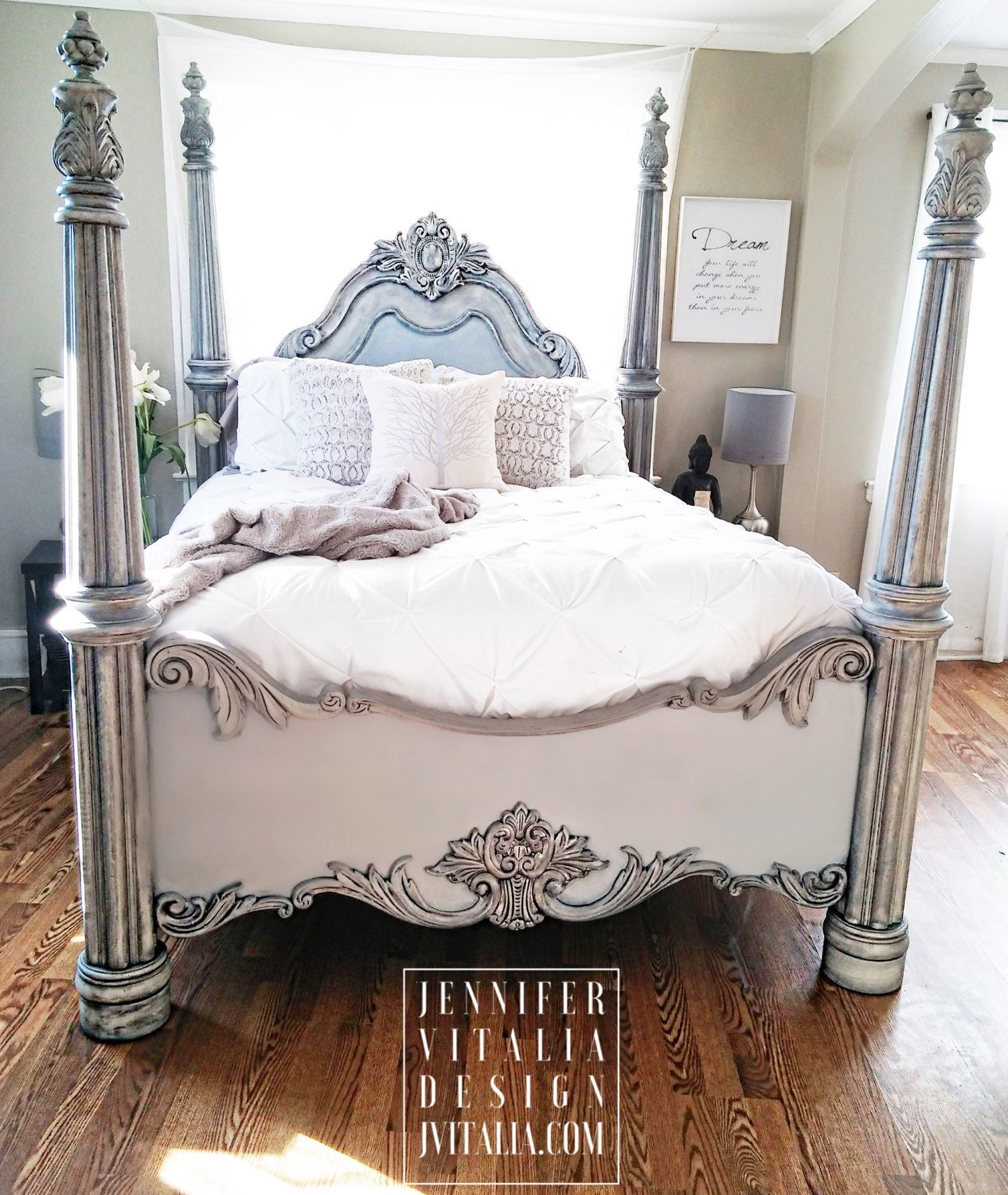 sold queen poster bed handpainted gray romantic bed frame. Black Bedroom Furniture Sets. Home Design Ideas