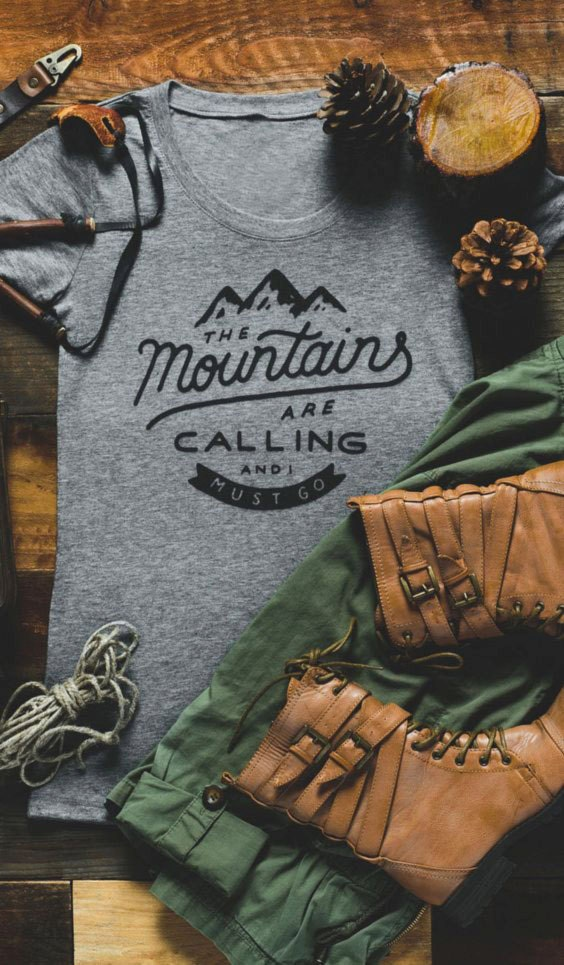 Mountains are calling grey graphic t-shirt