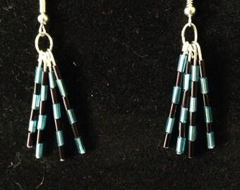 Blue and black tube bead dangle earrings