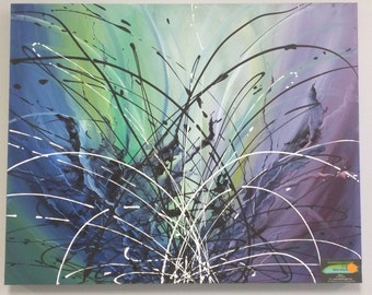 abstract oil painting /blue purple greens
