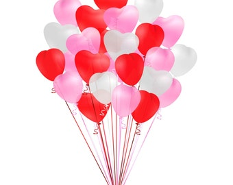 Red heart balloon etsy - How to make heart balloon ...