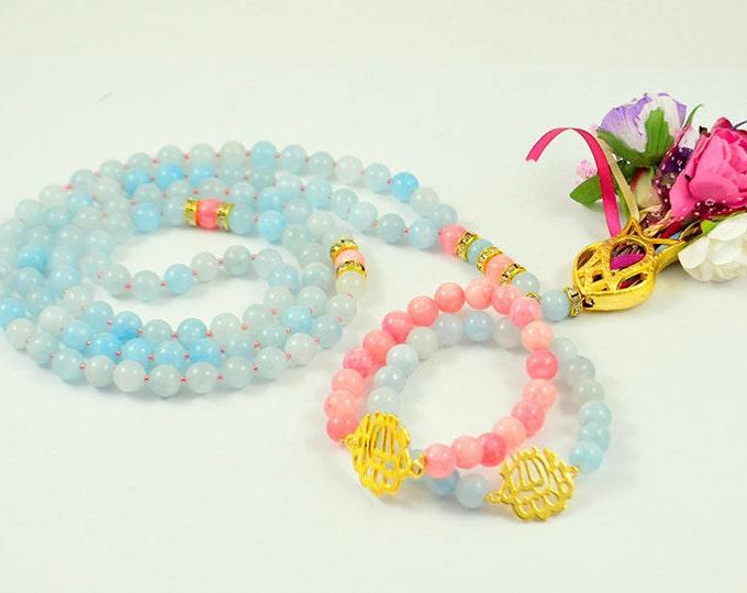 blue islamic rosary bracelet set, tasbeh, masbahah, rosary necklace, rose pedant tasbeh misbahah, subhah tespih islamic praying beads, eid