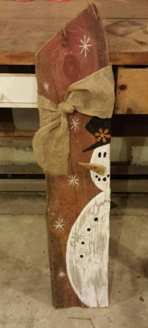 Country Snowman Wooden Outdoor Sign