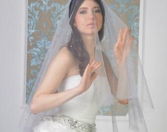 Swarovski wedding veil Style 1601V, bridal veil, drop veil, cathedral veil,gray wedding veil, crystal wedding veil